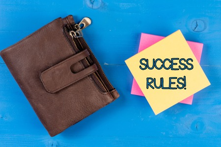Text sign showing Success Rules. Business photo showcasing able to achieve all the goals that you have set for yourself Imagens