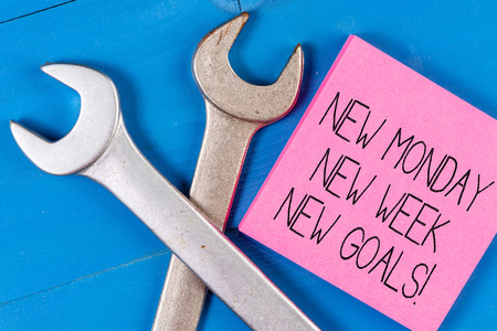 Conceptual hand writing showing New Monday New Week New Goals. Concept meaning goodbye weekend starting fresh goals targets