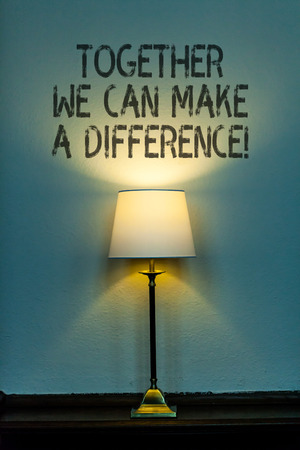 Conceptual hand writing showing Together We Can Make A Difference. Concept meaning be very important some way in like team or group Stok Fotoğraf