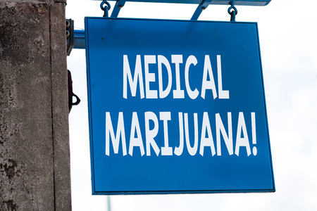Writing note showing Medical Marijuana. Business concept for recommended by examining as treatment of a medical condition Imagens
