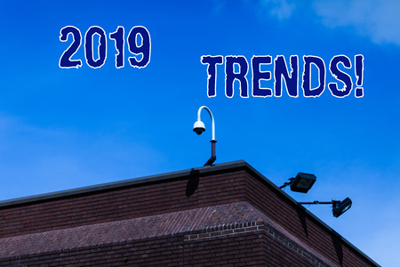 Writing note showing 2019 Trends. Business concept for general direction in which something is developing or changing