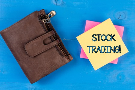 Text sign showing Stock Trading. Business photo showcasing the action or activity of buying and selling shares on market