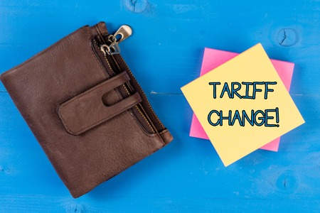 Text sign showing Tariff Change. Business photo showcasing Changes on tax imposed on imported goods and services