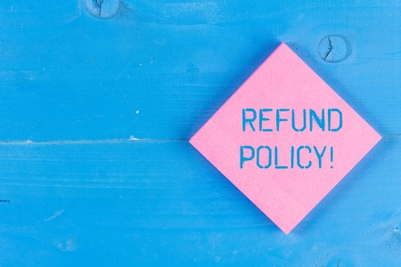 Word writing text Refund Policy. Business photo showcasing refund or exchange defective merchandise previously buy Standard-Bild