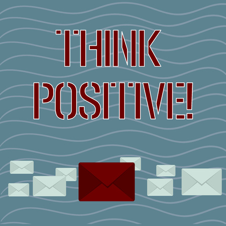 Word writing text Think Positive. Business photo showcasing to believe that you are going to be succeed in your goal Pastel Color Closed Envelopes in Different Sizes with Big one in the Middle