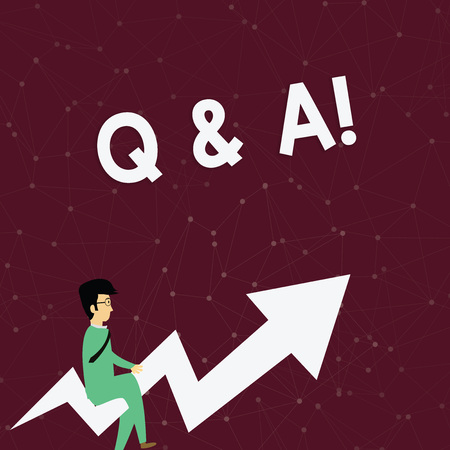 Handwriting text Q And A. Conceptual photo defined as questions being asked and answers Businessman with Eyeglasses Riding Crooked Color Arrow Pointing Going Up Banco de Imagens