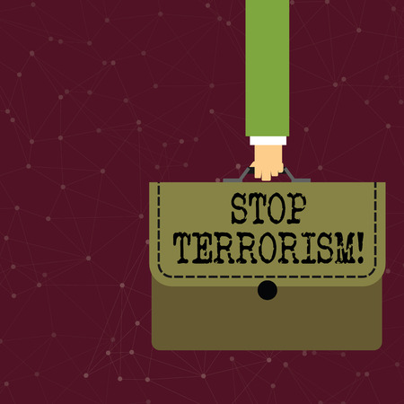 Handwriting text writing Stop Terrorism. Conceptual photo Resolving the outstanding issues related to violence Businessman Hand Carrying Colorful Briefcase Portfolio with Stitch Applique