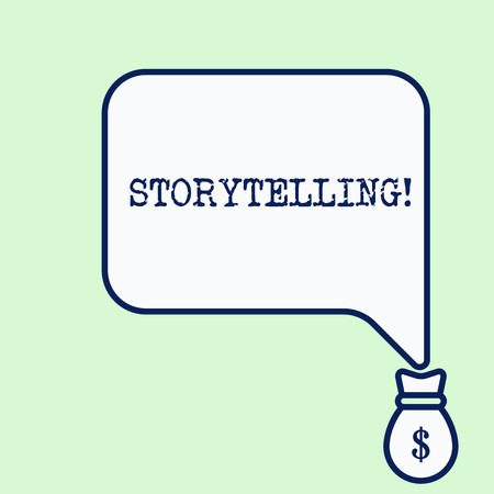 Text sign showing Storytelling. Business photo showcasing activity writing stories for publishing them to public Banco de Imagens