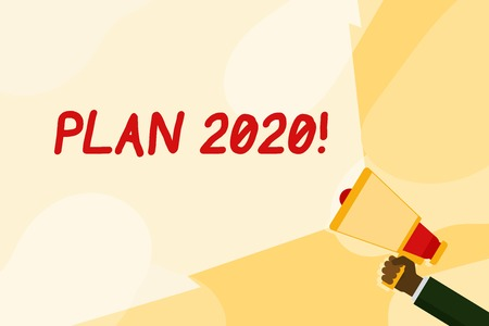 Text sign showing Plan 2020. Business photo text detailed proposal for doing or achieving something next year Hand Holding Megaphone with Blank Wide Beam for Extending the Volume Range Stock Photo