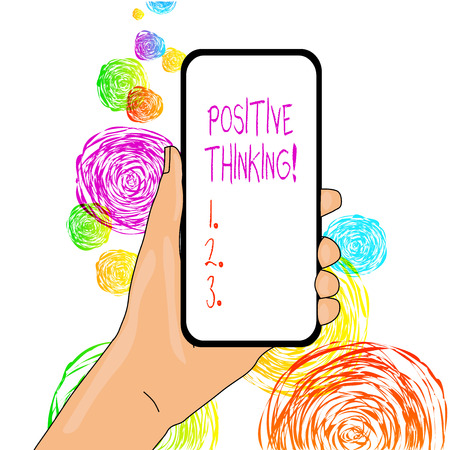 Word writing text Positive Thinking. Business photo showcasing mental attitude in wich you expect favorable results
