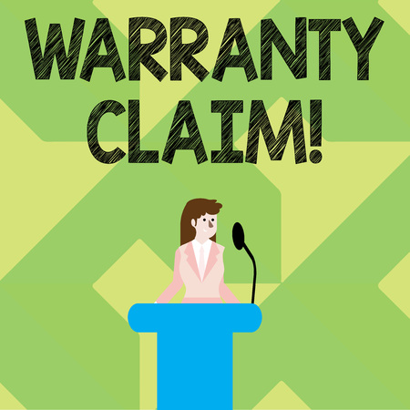 Writing note showing Warranty Claim. Business concept for Right of a customer for replacement or repair or compensation Businesswoman Behind Podium Rostrum Speaking on Microphone