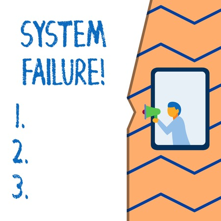 Conceptual hand writing showing System Failure. Concept meaning Occur because of a hardware failure or a software issue Banco de Imagens