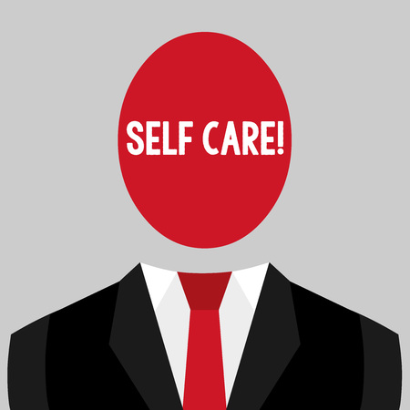 Writing note showing Self Care. Business concept for practice of taking action to preserve or improve ones own health Imagens