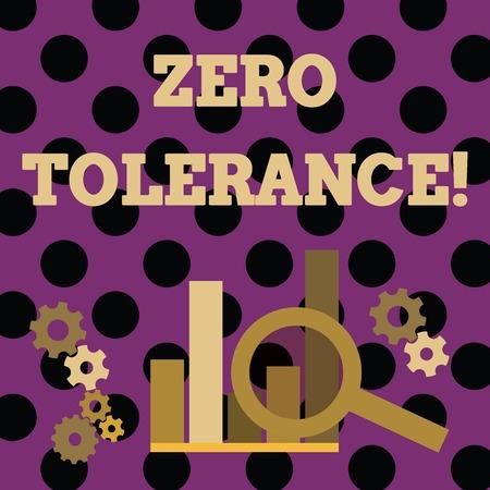 Handwriting text writing Zero Tolerance. Conceptual photo refusal to accept antisocial behaviour or improper behaviour Magnifying Glass Over Bar Column Chart beside Cog Wheel Gears for Analysis