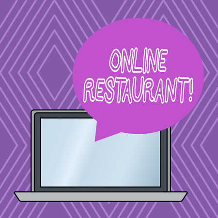 Writing note showing Online Restaurant. Business concept for internet that connects the restaurant or the food company 免版税图像