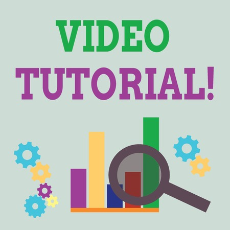 Word writing text Video Tutorial. Business photo showcasing method of transferring knowledge through audiovisual clips Magnifying Glass Over Bar Column Chart beside Cog Wheel Gears for Analysis Banque d'images