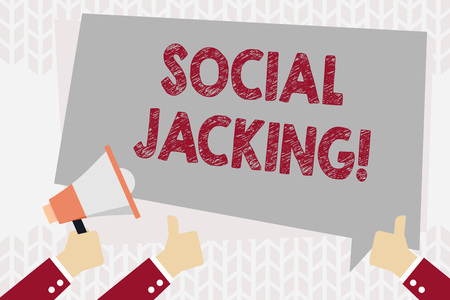 Text sign showing Social Jacking. Business photo showcasing Spiteful method tricking the user to click vulnerable buttons Hand Holding Megaphone and Other Two Gesturing Thumbs Up with Text Balloon Stock Photo