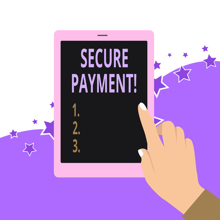 Handwriting text Secure Payment. Conceptual photo webpage where credit card numbers are entered is secured Archivio Fotografico