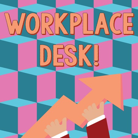 Conceptual hand writing showing Workplace Desk. Concept meaning a type of table that you can work at often one with drawers photo of Hand Holding Colorful Huge 3D Arrow Pointing and Going Up Stockfoto