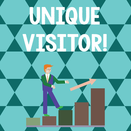 Word writing text Unique Visitor. Business photo showcasing Individuals who have visited a Web site at least once Smiling Businessman Climbing Colorful Bar Chart Following an Arrow Going Up Stok Fotoğraf