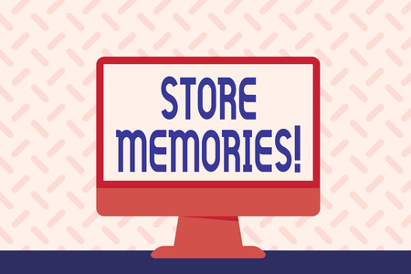 Text sign showing Store Memories. Business photo showcasing the ability of the mind to store and recall past sensations Blank Space Desktop Computer Colorful Monitor Screen Freestanding on Table