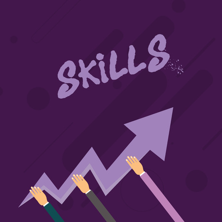 Word writing text Skills. Business photo showcasing ability do something very well by nature Three Hands Holding Colorful Zigzag Lightning Arrow Pointing and Going Up