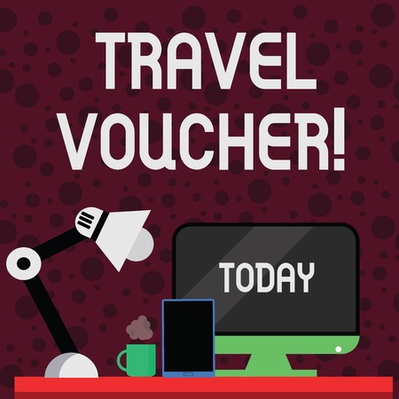 Conceptual hand writing showing Travel Voucher. Concept meaning Tradable transaction type worth a certain monetary value Arrangement for Nightshift Worker Computer, Tablet and Lamp Фото со стока