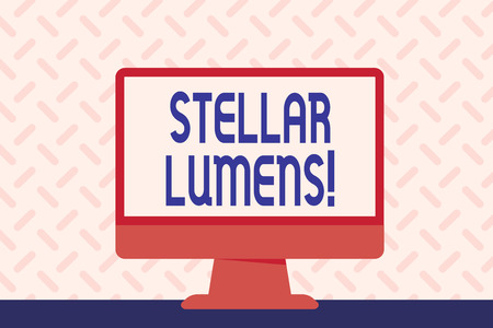 Text sign showing Stellar Lumens. Business photo showcasing cryptocurrency platform that uses on remittance and payments Blank Space Desktop Computer Colorful Monitor Screen Freestanding on Table