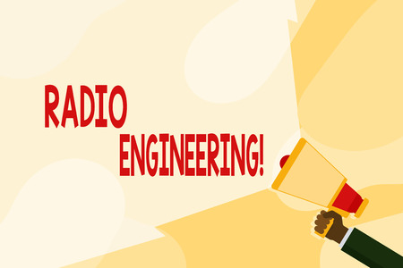 Text sign showing Radio Engineering. Business photo text Concerned with the operation and repair of radio equipment Hand Holding Megaphone with Blank Wide Beam for Extending the Volume Range