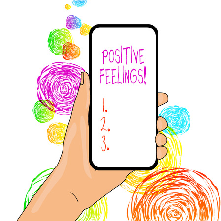 Word writing text Positive Feelings. Business photo showcasing any feeling where there is a lack of negativity or sadness