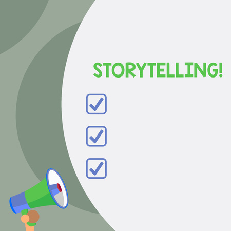 Text sign showing Storytelling. Business photo text activity writing stories for publishing them to public