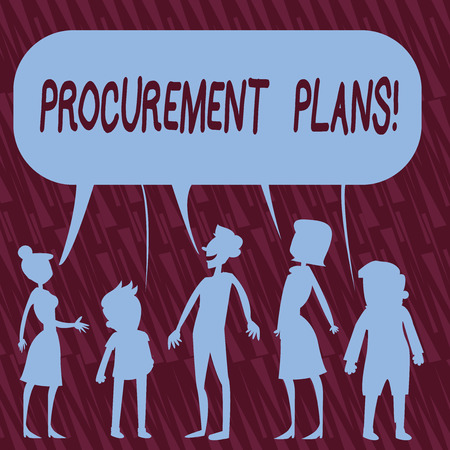 Text sign showing Procurement Plans. Business photo text determining the timeframes for their procurement Silhouette Figure of People Talking and Sharing One Colorful Speech Bubble