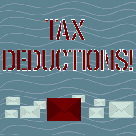 Word writing text Tax Deductions. Business photo showcasing amount or cost that can be subtracted from someone s is income Pastel Color Closed Envelopes in Different Sizes with Big one in the Middle
