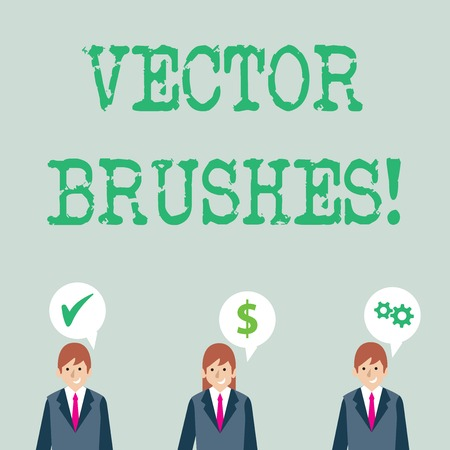 Word writing text photo Brushes. Business photo showcasing Applied to path and use to create realistic hand drawn effect Businessmen Each has their Own Speech Bubble with Optimization Cost Icons