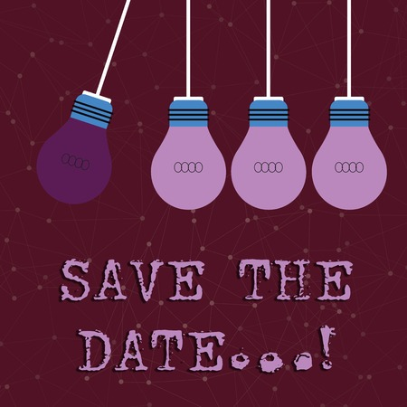 Text sign showing Save The Date. Business photo text Organizing events well make day special event organizers Color Incandescent Pendant Bulb Hanging with One Different Shade Lightbulb 스톡 콘텐츠