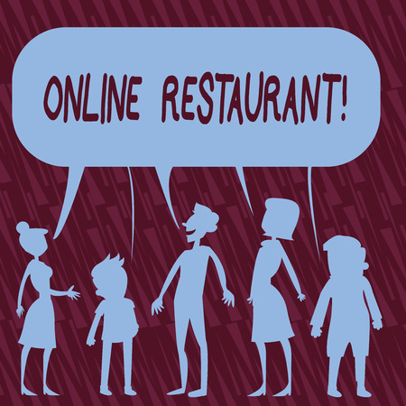 Text sign showing Online Restaurant. Business photo text internet that connects the restaurant or the food company Silhouette Figure of People Talking and Sharing One Colorful Speech Bubble 写真素材
