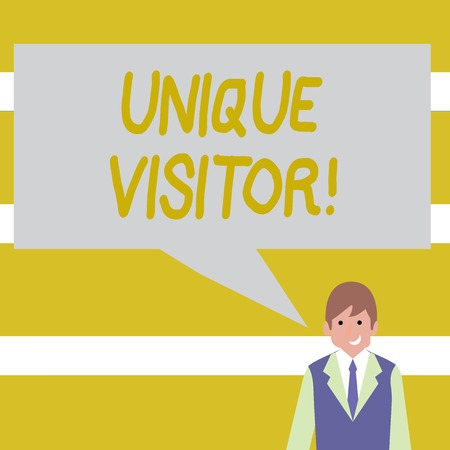 Conceptual hand writing showing Unique Visitor. Concept meaning Individuals who have visited a Web site at least once Businessman Smiling and Talking Blank Color Speech Bubble