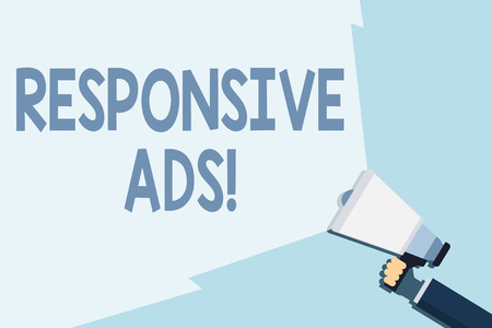 Writing note showing Responsive Ads. Business concept for Automatically adjust form and format to fit existing ad space Hand Holding Megaphone with Beam Extending the Volume Range