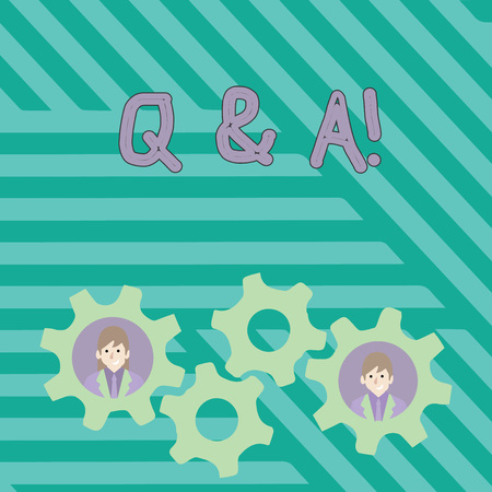 Writing note showing Q And A. Business concept for defined as questions being asked and answers Two Business People Inside Cog Wheel Gear for Teamwork Event