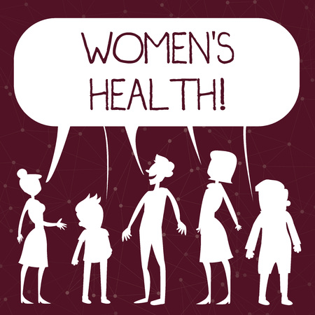 Handwriting text writing Women S Is Health. Conceptual photo the health issues specific to huanalysis anatomy Silhouette Figure of People Talking and Sharing One Colorful Speech Bubble Stok Fotoğraf
