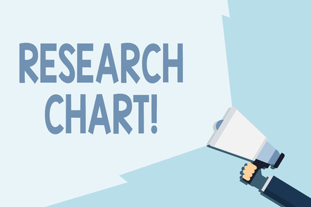 Writing note showing Research Chart. Business concept for it represents a set of numerical or qualitative data Hand Holding Megaphone with Beam Extending the Volume Range