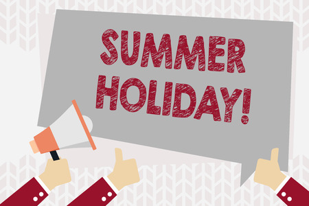 Text sign showing Summer Holiday. Business photo showcasing Vacation during the summer season School holiday or break Hand Holding Megaphone and Other Two Gesturing Thumbs Up with Text Balloon Imagens