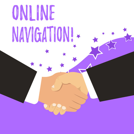 Text sign showing Online Navigation. Business photo showcasing navigating a network of information resources in the web Stock Photo