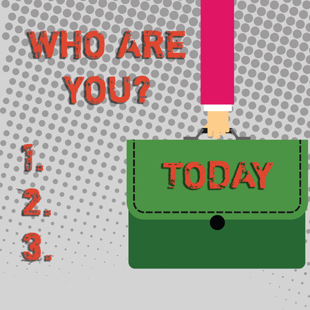 Handwriting text Who Are You question. Conceptual photo asking demonstrating identity or demonstratingal information Businessman Hand Carrying Colorful Briefcase Portfolio with Stitch Applique
