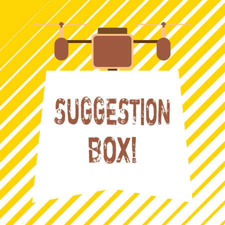 Handwriting text writing Suggestion Box. Conceptual photo container which showing can leave comments about something