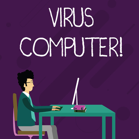 Conceptual hand writing showing Virus Computer. Concept meaning Malicious software program loaded onto a user s is computer Businessman Sitting on Chair Working on Computer and Books Reklamní fotografie