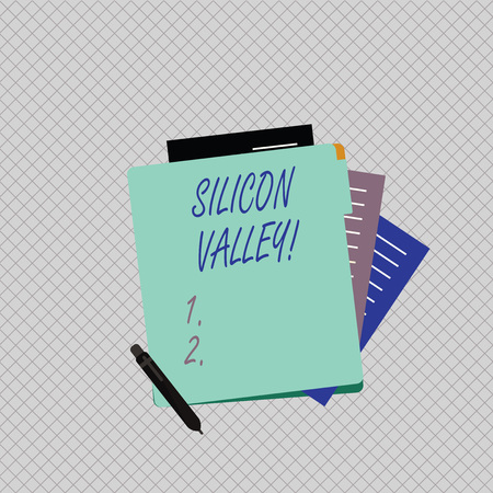 Conceptual hand writing showing Silicon Valley. Concept meaning home to analysisy startup and global technology companies Lined Paper Stationery Partly into View from Pastel Folder
