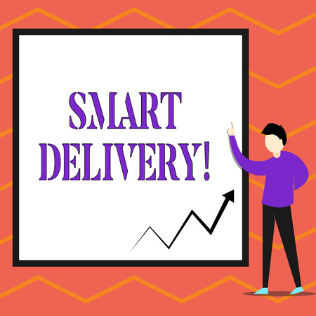 Writing note showing Smart Delivery. Business concept for Mobile solution for delivering and transporting goods faster