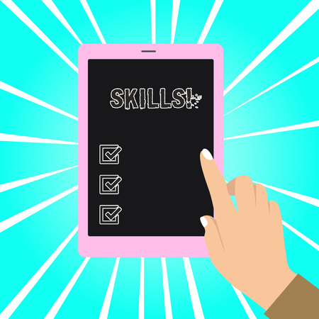 Writing note showing Skills. Business concept for ability do something very well by nature