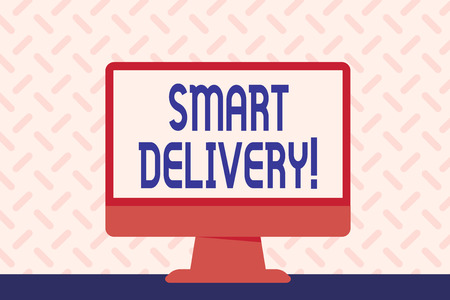 Text sign showing Smart Delivery. Business photo showcasing Mobile solution for delivering and transporting goods faster Blank Space Desktop Computer Colorful Monitor Screen Freestanding on Table
